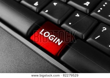 Close up of Login keyboard button