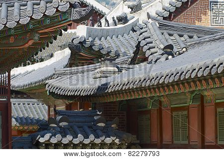 Roofs of the Gyeongbokgung palace buildings, Seoul, Korea.