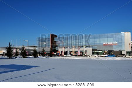 NOVOSIBIRSK, RUSSIA - NOVEMBER 16, 2014: The building of Novosibirsk ExpoCenter in a winter day. It is the Asian part of Russia largest exposition center