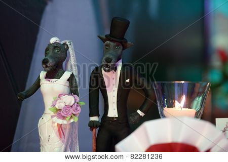 MOSCOW, RUSSIA - JULY 13, 2014: Decorations for the wedding cake exposed on the Wedding Fairy Tail 2014. It was the first festival of Russian wedding industry in the Trade Show format
