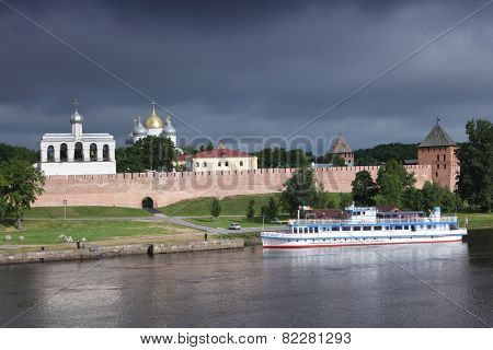 VELIKY NOVGOROD, RUSSIA - JUNE 16, 2011: View to the Novgorod Kremlin from the opposite bank of Volkhov river. The current fortress was built between 1484 and 1490 with nine surviving towers