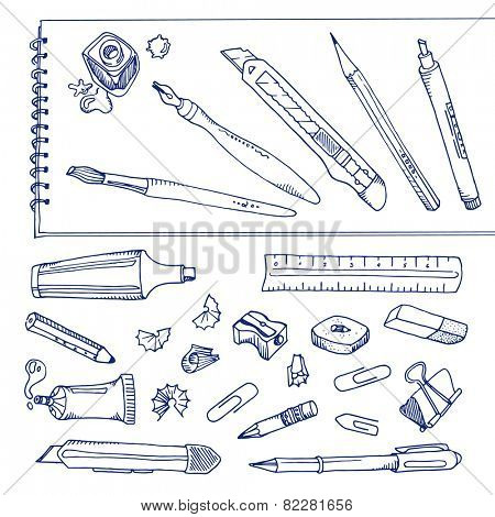 Writing tools - handdrawn set
