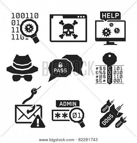Hacking icons set 02 // BW Black & White