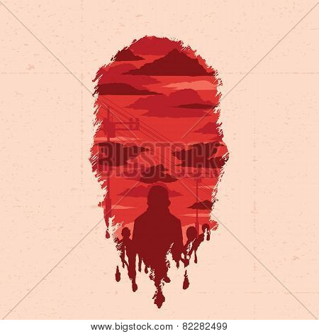 Vector Illustration. Zombie Head Silhouette