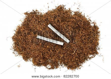 heap of tobacco and cigarettes isolated on white