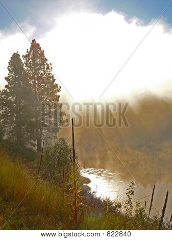 sunrise Misty lake