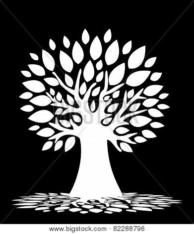 Black And White Abstract Tree