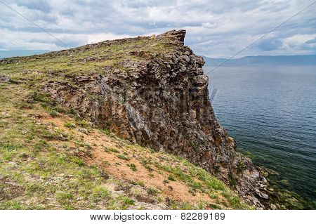 Cliff Lake Baikal in Russia