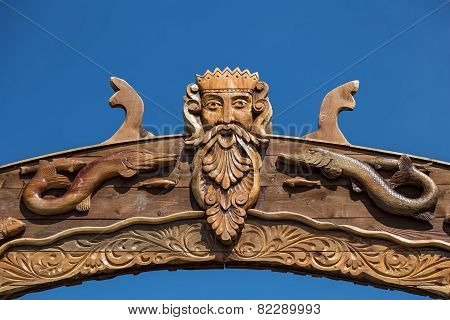 Neptun Or Poseidon Face Head Signboard