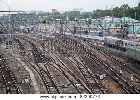 Railroad Tracks In Irkutsk, Russia