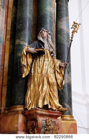 SALZBURG, AUSTRIA - DECEMBER 13: Statue of Saint, Altar in Collegiate church in Salzburg on December 13, 2014.