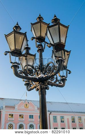 Beautiful Street Lamp On The Background Of Old Buildings