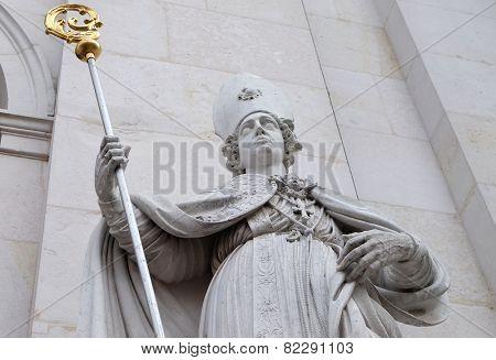 SALZBURG, AUSTRIA - DECEMBER 13, 2014: Saint Rupert statue at Salzburg Cathedral, Austria on December 13, 2014. Salzburg Cathedral is a baroque cathedral of the Roman Catholic Archdiocese of Salzburg