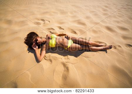 Brunette Woman Yellow Swimsuit Beach