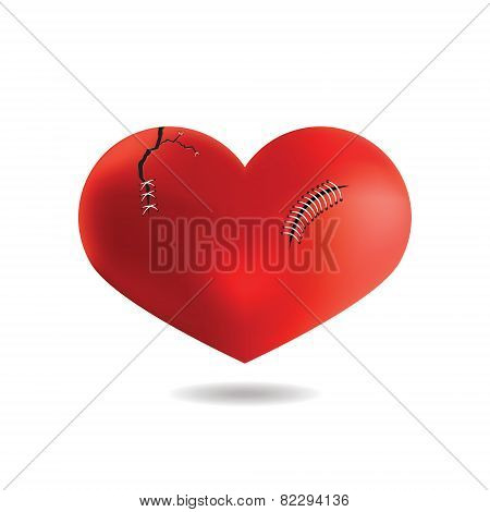 Red Heart With Scar, Isolated On White Background, Vector