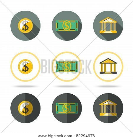 Money and banking icons set. In different flat styles.