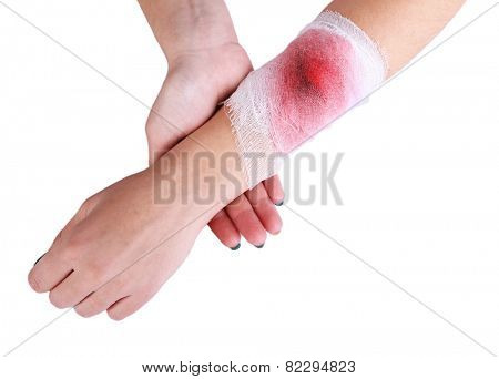 Wounded hand with bandage isolated on white