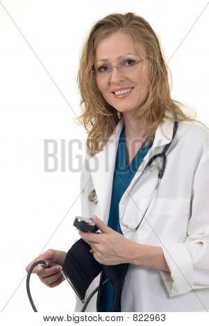 Attractive doctor with sphygmometer