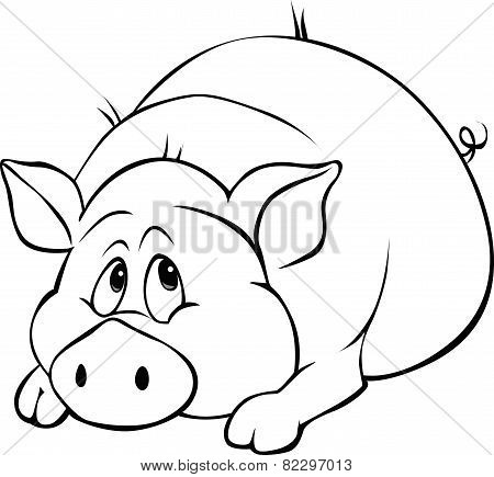 Pig Cartoon Laying Isolated On White Background - Black And White Illustration