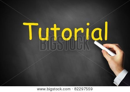 Hand Writing Tutorial On Black Chalkboard