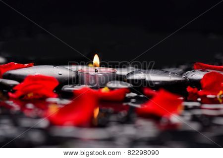 Red rose petals with candle and therapy stones ,Valentines Day background