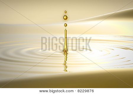 Splash Of Golden Water Droplet And Waves