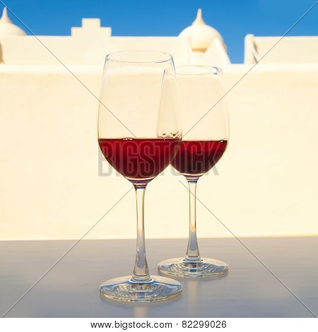 Two Glasses Of Very Dark Chilled Rose, Set Outside