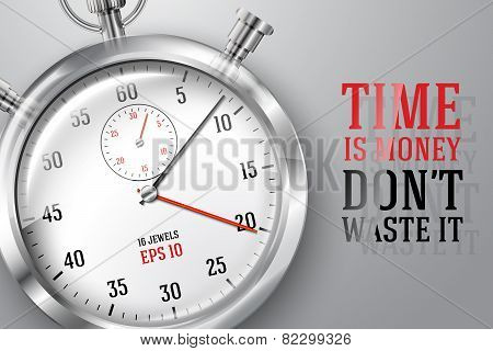 Running time concept banner with silver bright stopwatch clock and place for your text. Vector