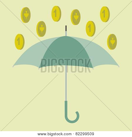 umbrella and coins
