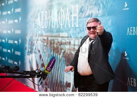 MOSCOW - JANUARY, 28: Actors R. Medyanov.  Premiere of the movie Leviathan at Moscow Cinema,  January, 28, 2015 in Moscow, Russia