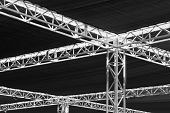 picture of tarp  - Steel girders beams and tarps that are part of a music concert roof or ceiling - JPG