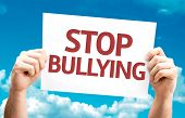 stock photo of stop bully  - Stop Bullying card with sky background - JPG