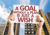 foto of goal setting  - A Goal without a Plan is Just a Wish card with a urban background - JPG