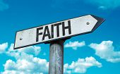 picture of extremist  - Faith sign with sky background - JPG