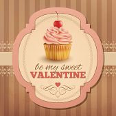 picture of cupcakes  - Valentine vintage card with cupcake - JPG