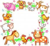 stock photo of sheep-dog  - Square frame with cute cartoon farm animals - JPG