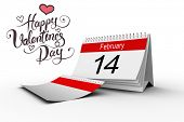 picture of february  - Happy valentines day against february calendar - JPG