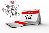 foto of february  - Happy valentines day against february calendar - JPG