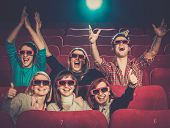 image of watching movie  - Group of people in 3D glasses watching movie in cinema - JPG