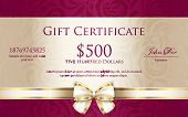 picture of classic art  - Exclusive gift certificate with floral pattern and cream ribbon - JPG
