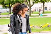 picture of bff  - Best friends of North African ethnicity in park - JPG