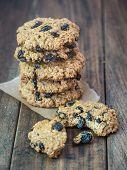picture of baked raisin cookies  - Homemade whole grain spelt oatmeal raisin cookies - JPG