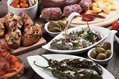 image of buffet  - Spanish tapas or antipasto food - JPG