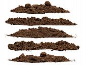 picture of piles  - Set pile of soil isolated on white background - JPG