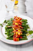 image of green bean  - Green beans with bacon and vegetables - JPG