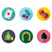 picture of coin slot  - Vector slot machine symbols set modern flat style - JPG