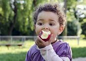 stock photo of healthy eating girl  - Child girl eating an apple in a park in nature - JPG