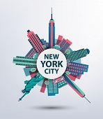 picture of skyscrapers  - New York city architecture retro vector illustration - JPG