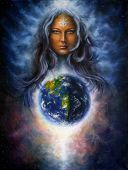 image of canvas  - A beautiful oil painting on canvas of a woman goddess Lada as a mighty loving guardian and protective spirit upon the Earth - JPG