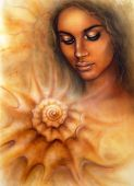 picture of airbrush  - A beautiful airbrush portrait of a young woman with closed eyes meditating upon a spiraling seashell - JPG